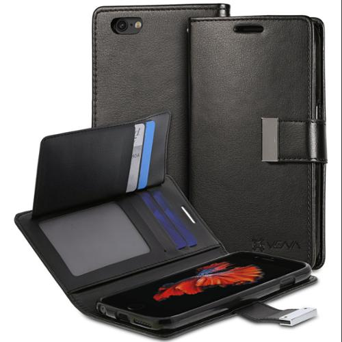 """Apple iPhone 6S / iPhone 6 (4.7"""") Wallet Case - Vena [vDiary] Slim Tri-Fold Leather Wallet Case with Stand Flip - Black"""