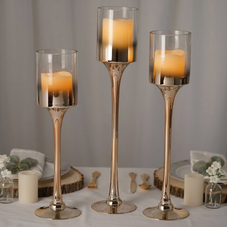 Chrome Pillar Covers (Efavormart Set of 3 | Chrome Finished Long Stem Pillar Glass Candle Holders - 20