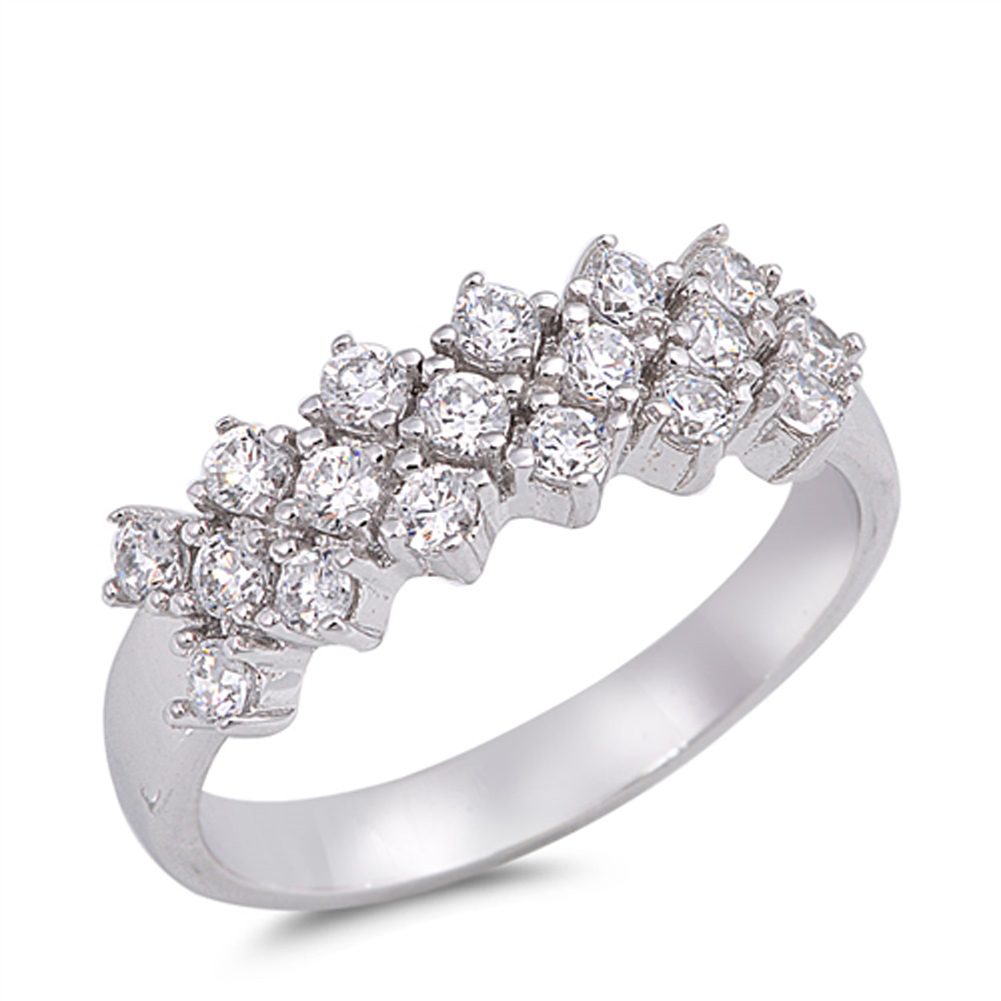 Cluster Bar White CZ Beautiful Wedding Ring ( Sizes 6 7 8 9 10 ) .925 Sterling Silver Band Rings by Sac Silver (Size 6)