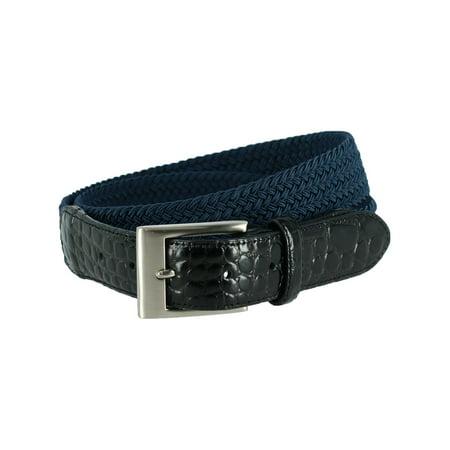 Men's Braided Elastic Stretch Belt with Croc Print End (Lands End Braided Belt)
