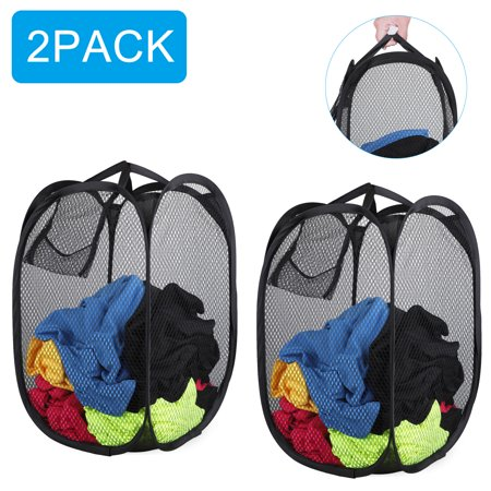 Steel Mesh Basket (EEEkit 2 Pack Strong Mesh Pop-up Laundry Hamper, Laundry Basket with Durable Handles Solid Bottom High Carbon Steel Frame,Large Capacity and Fold Flat for Storage, Odors & Moisture Proof, Black )
