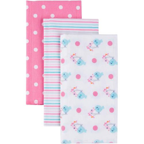 Gerber Newborn Baby Girl Flannel Burp Cloths 3 pack