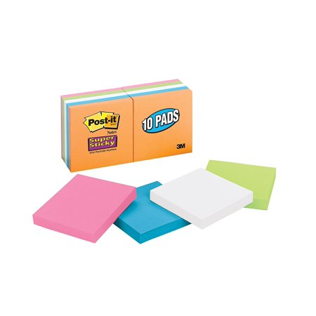 Post-it Super Sticky Notes, 3 x 3-Inches, Assorted Neon Colors, 10-Pads/Pac