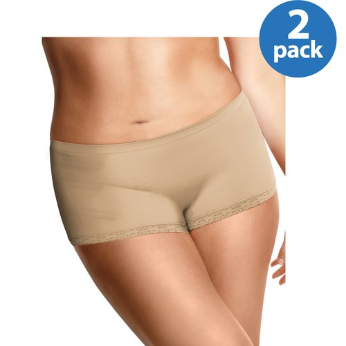 Just My Size Women's Plus-Size Seamless Boyshorts, 2-Pack