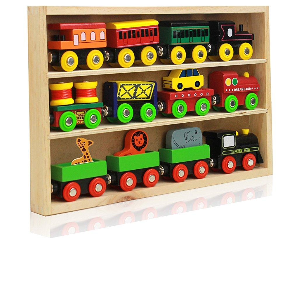 Around The Town 12 Piece Wooden Engines & Train Cars, Com...