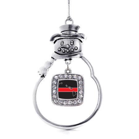 - Hawaii Thin Red Line Classic Snowman Holiday Ornament
