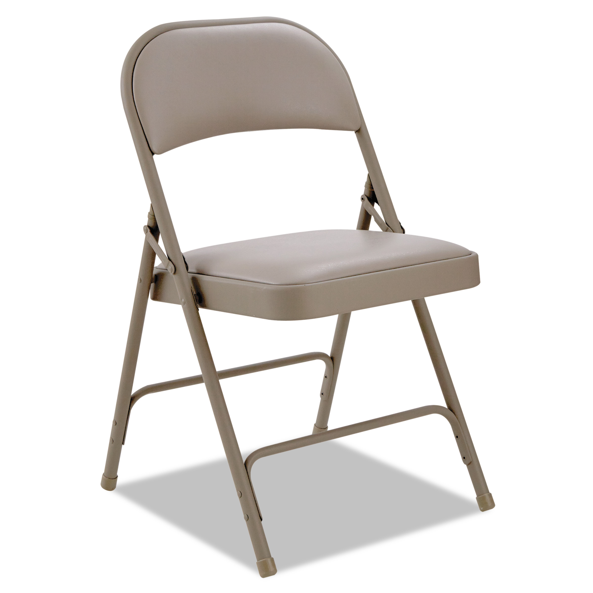 Alera Steel Folding Chair with Two-Brace Support, Padded Back/Seat, Tan, 4 Per Carton
