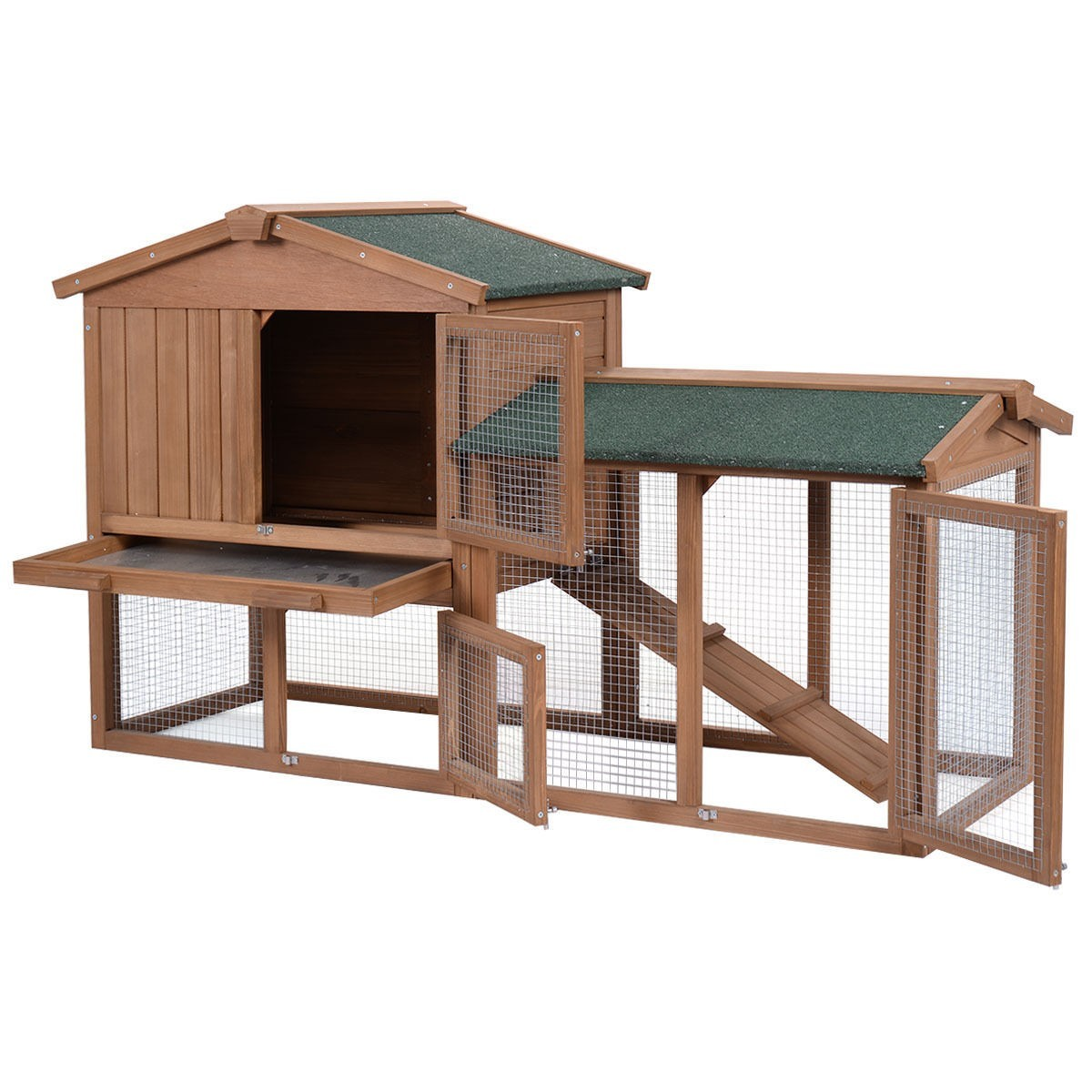 """58"""" Large Wooden Rabbit Hutch Chicken Coop Bunny Animal Hen Cage House w Run by Apontus"""