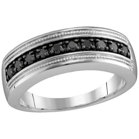 Size 10 - 925 Sterling Silver Mens Round Black Diamond Milgrain Wedding Anniversary Band Ring (1/2 Cttw)