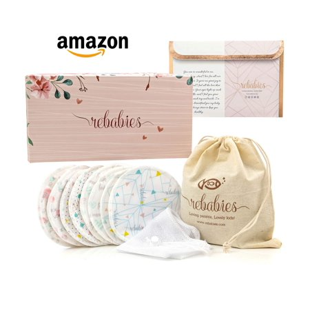 Best Nursing Pads for Breastfeeding Moms, Eco-Friendly Organic Bamboo No-Leak Bra Pads, Reusable, Washable, Super Absorbent, Includes 4 Overnight & 4 Regular Pads, Awesome Baby Shower Gift (8