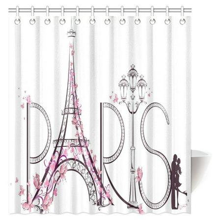 MYPOP Paris City Decor Shower Curtain, Tower Eiffel with Paris Lettering Illustration Couple Trip Flowers Floral Artful Design Fabric Bathroom Set with Hooks, 66 X 72 Inches ()