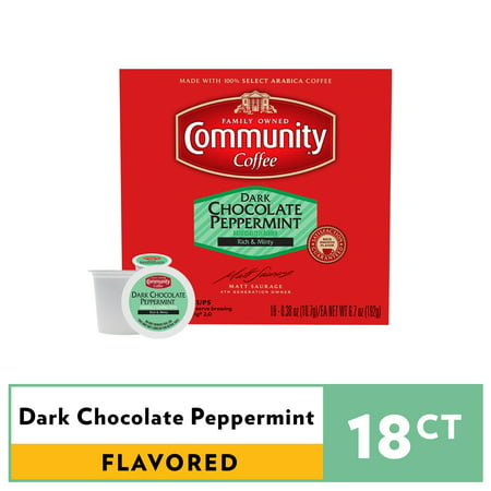 Community® Coffee Dark Chocolate Peppermint Coffee Single-Serve Cups 18 ct Box Compatible with Keurig 2.0 K-Cup Brewers