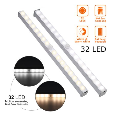 Wireless LED Closet Light,32-LED Motion Sensor Lamp PIR Cabinet Light Closet Lamp Night Light Stick-on Anywhere 2 Sensor Modes With Motion Activated (Battery Operated)](Light Battery Operated)