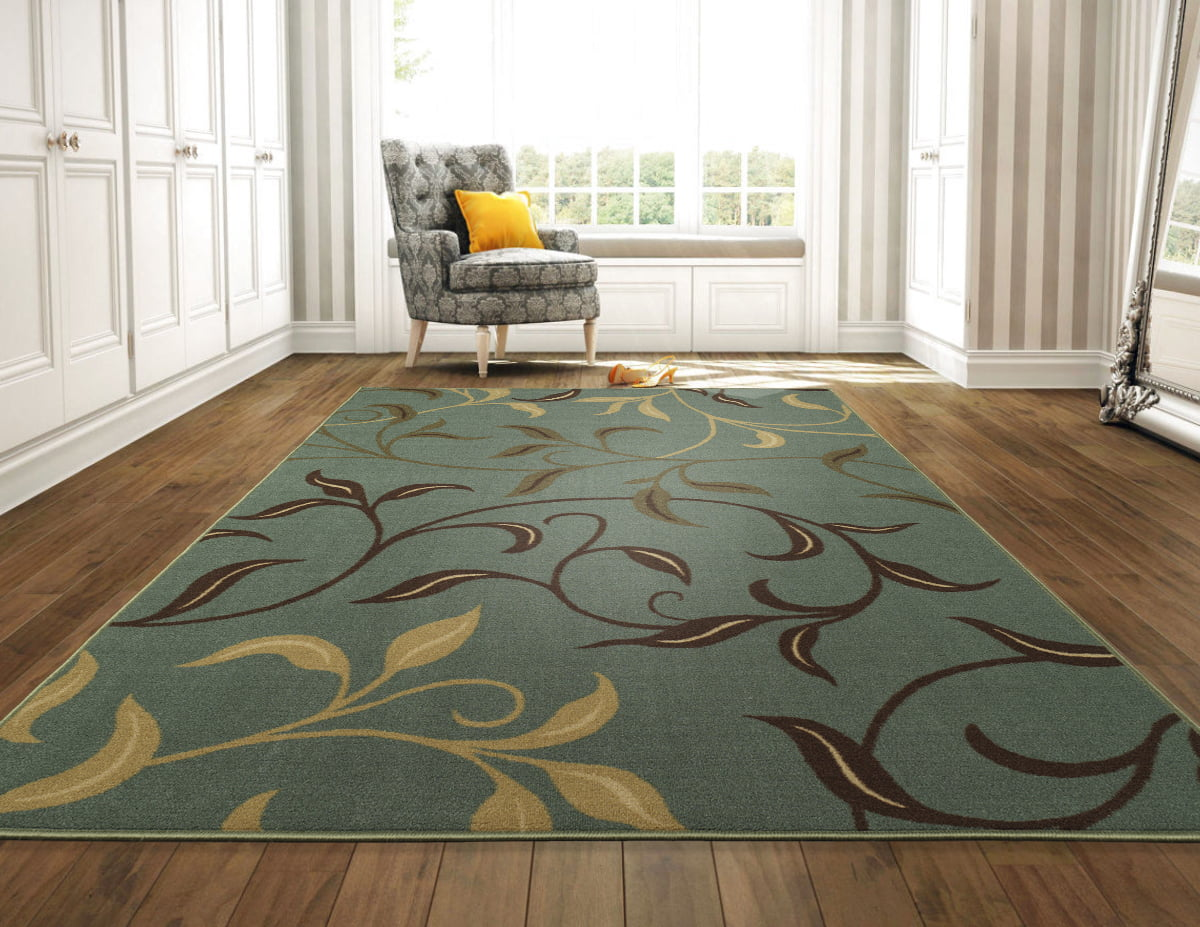 Ottomanson Ottohome Collection Contemporary Leaves Design Non-Skid Rubber Backing Modern... by Ottomanson