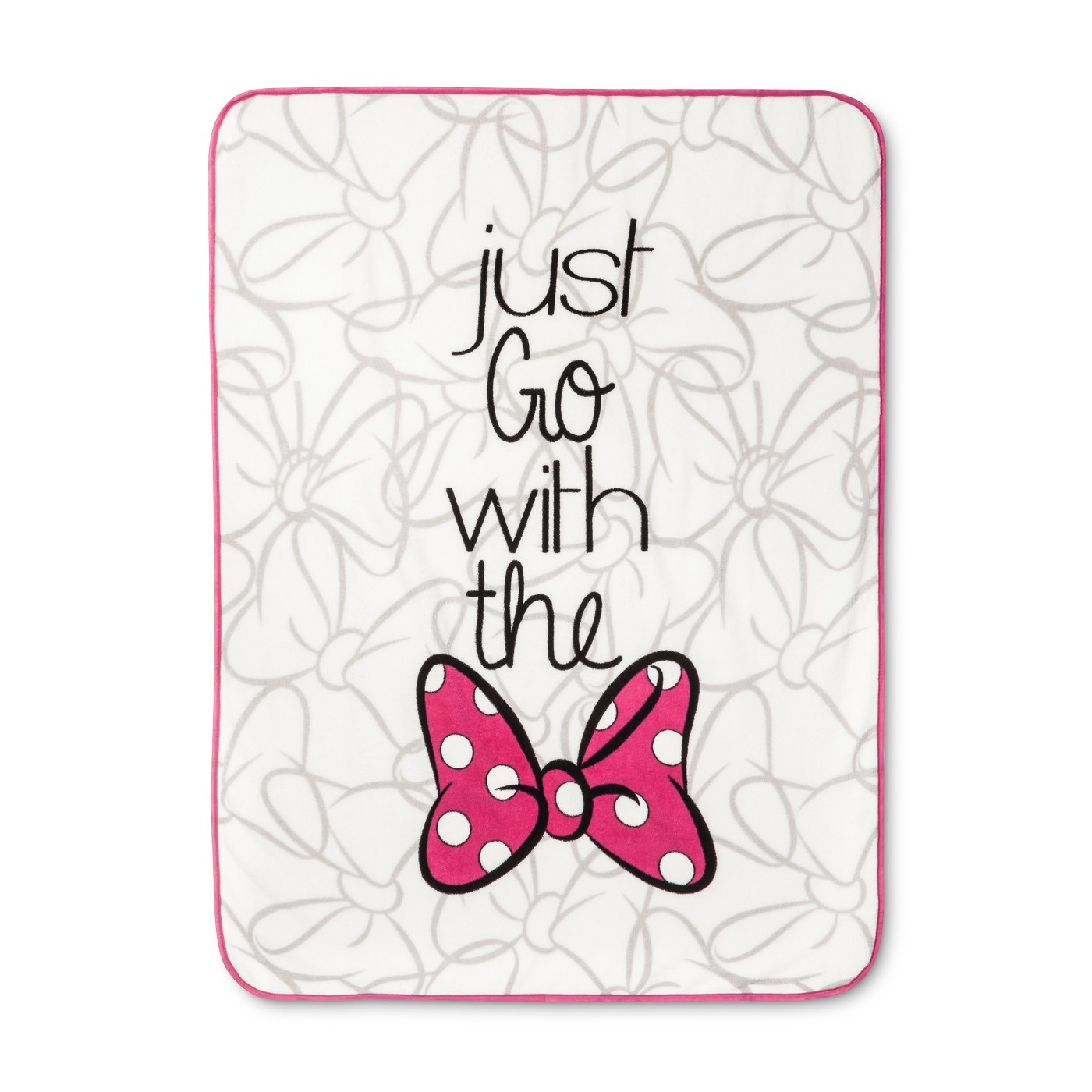 "Minnie Mouse ""Just go with the Bow"" Throw Blanket"