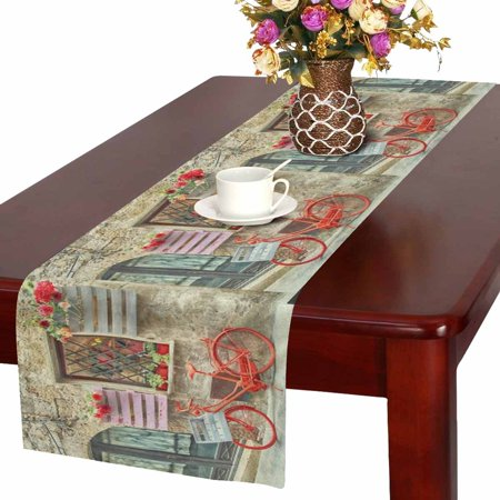 MKHERT European Red Bike Bicycle in Italian Medieval Town Table Runner Home Decor for Wedding Banquet Decoration 16x72 - Italy Table Decorations