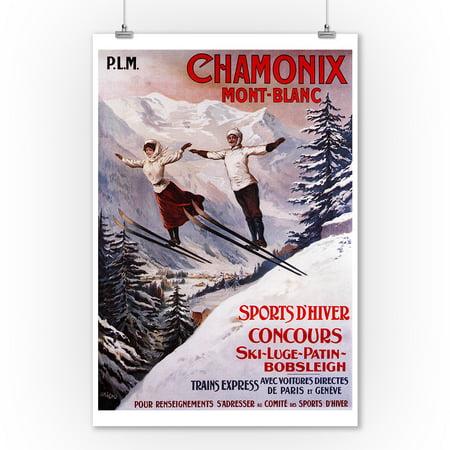 Chamonix Mont-Blanc, France - Couple Skiing - Vintage Travel Poster (9x12 Art Print, Wall Decor Travel - Perfect Couple Poster