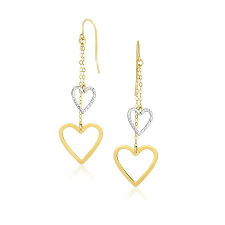 - 10k Two-Tone Gold Cutout Heart Chain Dangling Earrings