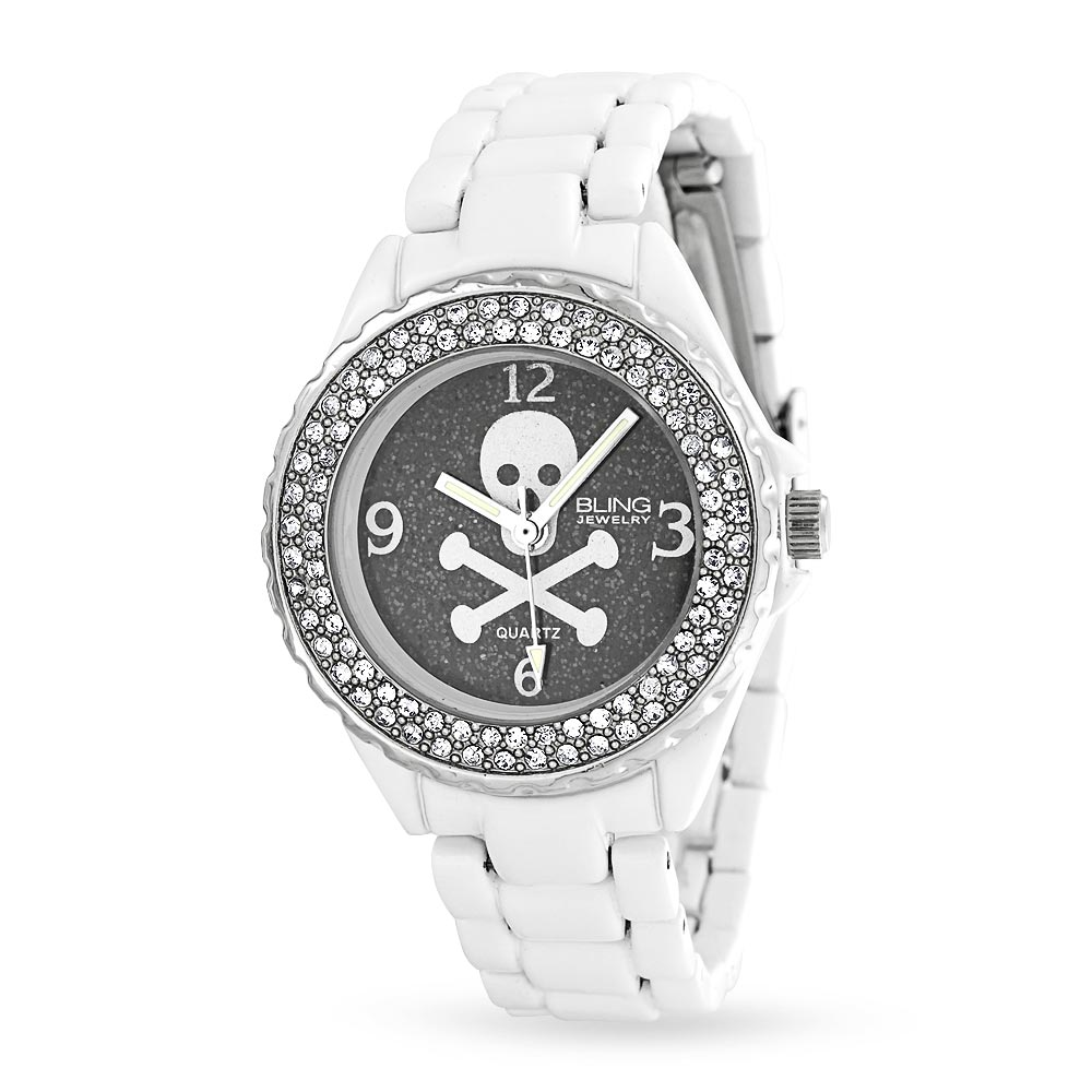 Bling Jewelry Stainless Steel Skull and Crossbones Fashion Watch