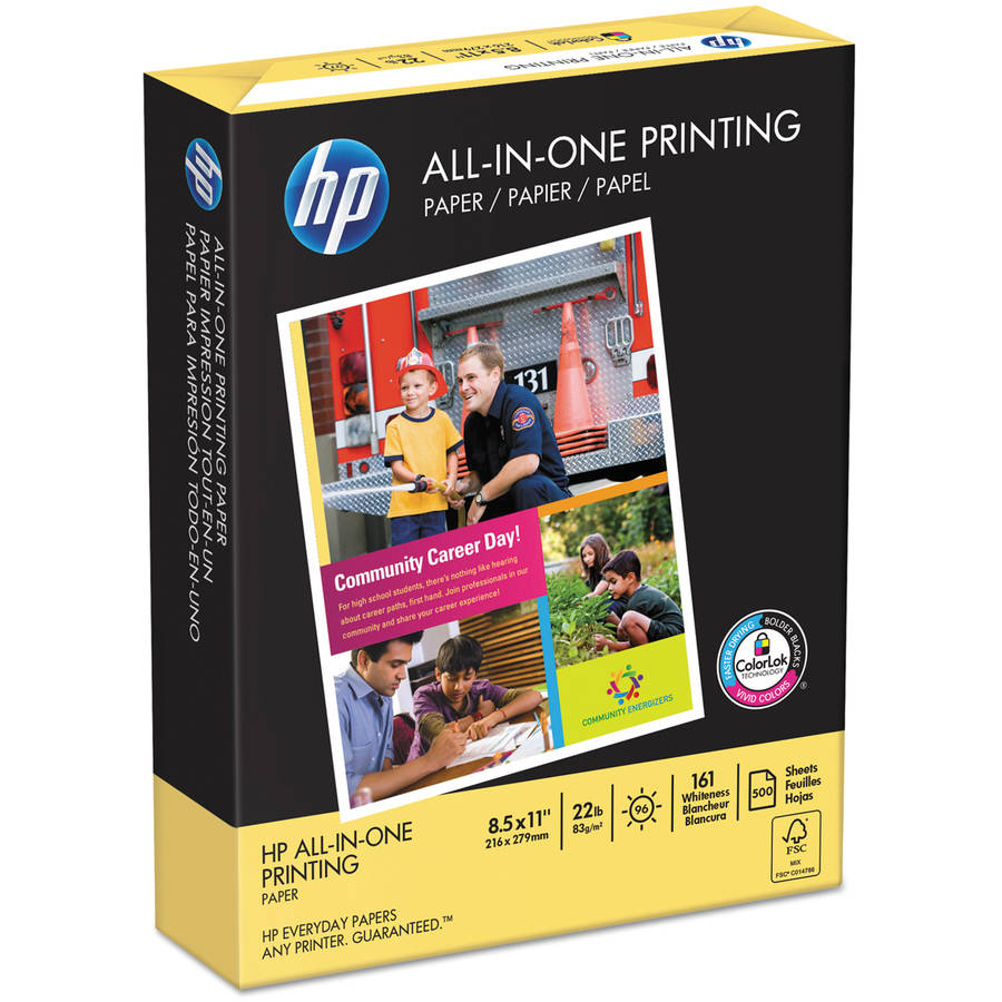 HP All-In-One Printing Paper, 97 Brightness, 22lb, 8-1/2 x 11, White, 500 Shts/Ream