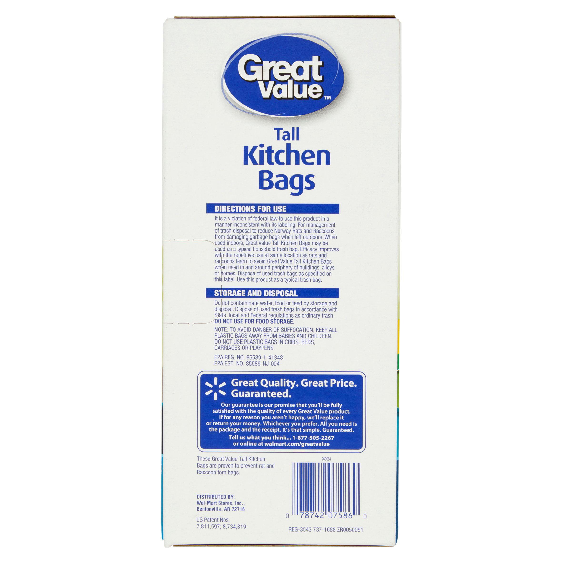 Great Value Tall Kitchen Drawstring Trash Bags, Mint, 13 Gallon, 44 ...