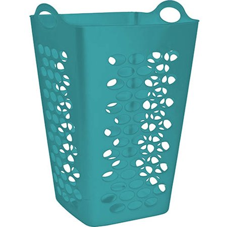 Mainstays Flex Square 2-Bushel Hamper, Teal