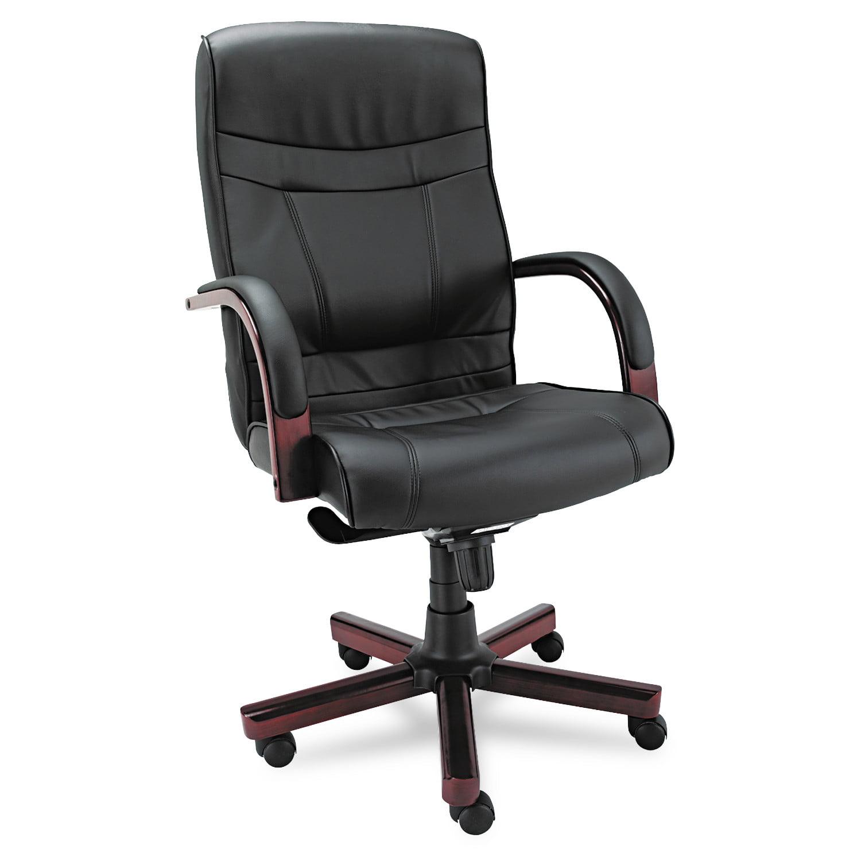 Alera Alera Madaris Series High-Back Knee Tilt Leather Chair Wood Trim, Black Mahogany by ALERA