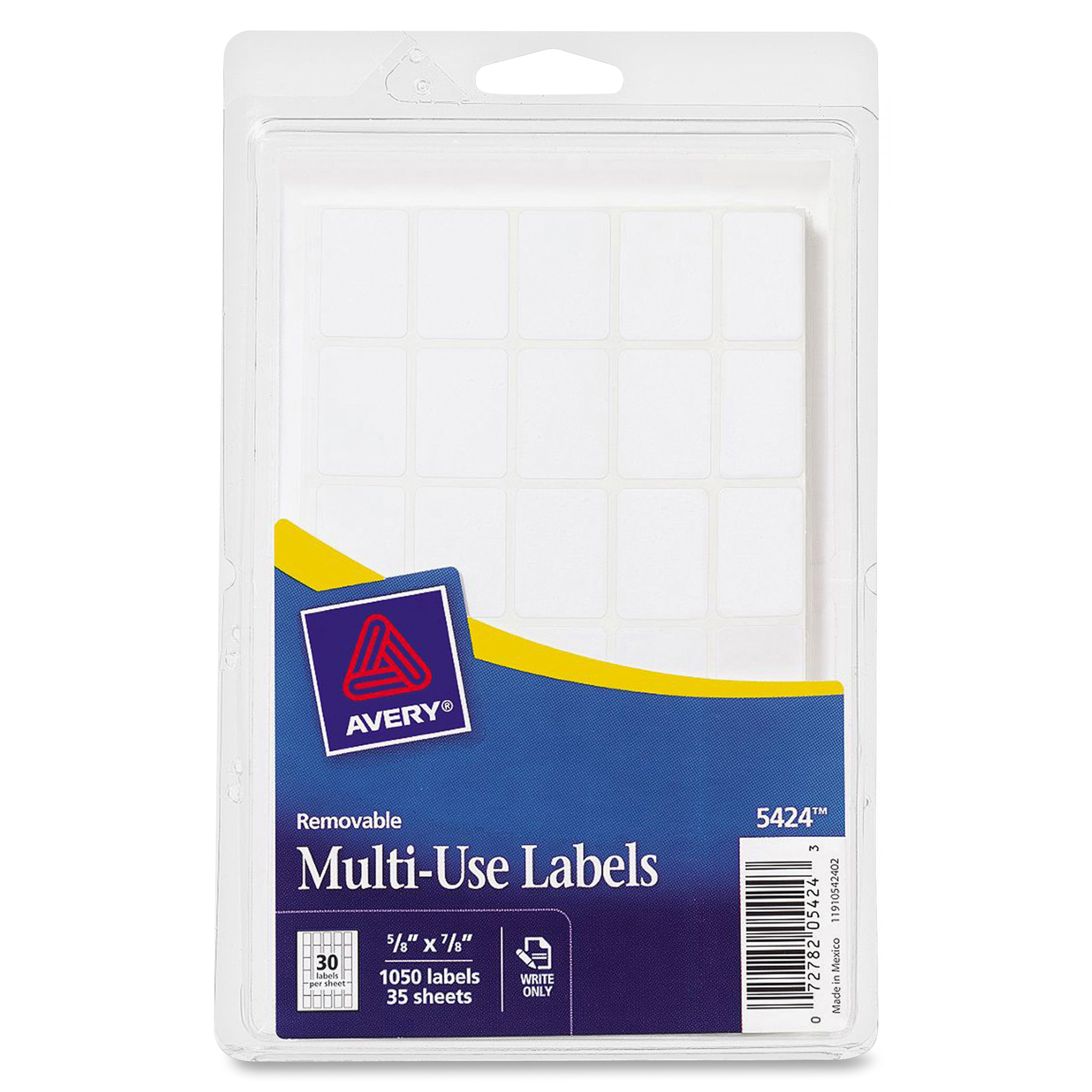 Avery White Removable Rectangular Labels 5424 58 X 78 Pack Of