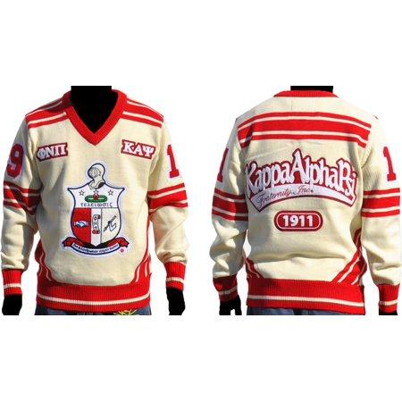 Big Boy Kappa Alpha Psi Divine 9 Mens V-Neck Sweater [Ivory White/Crimson Red - 3XL] ()