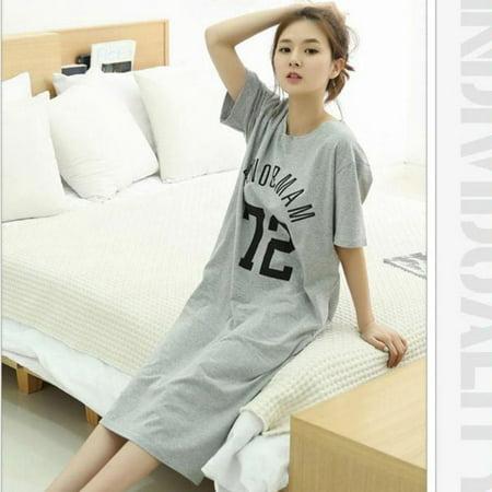 Lavaport Casual Women Milk Silk Loose Long Sleepwear Dress ()