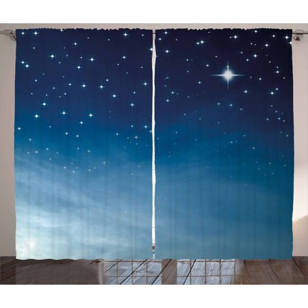 Night Curtains 2 Panels Set Ombre Inspired Sky With Vibrant Stars Universe Astronomy Exploration