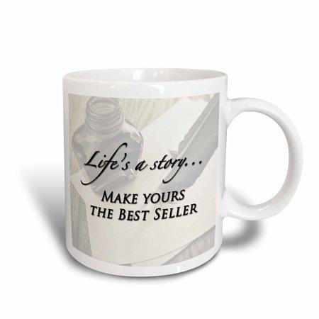 3dRose Lifes a story?Make yours the Best Seller, expression, Ceramic Mug,