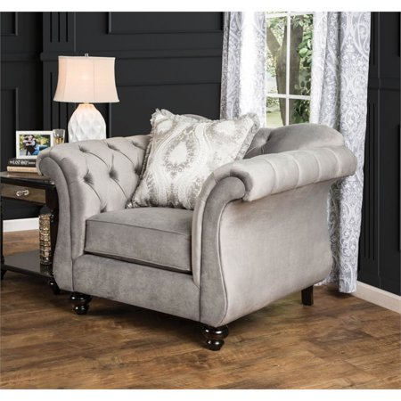 Phenomenal Furniture Of America Dupre Tufted Accent Chair In Dolphin Gray Caraccident5 Cool Chair Designs And Ideas Caraccident5Info