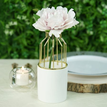 Efavormart Gold Wrought Iron White Ceramic Vase Small Flower Pot For Wedding Decoration