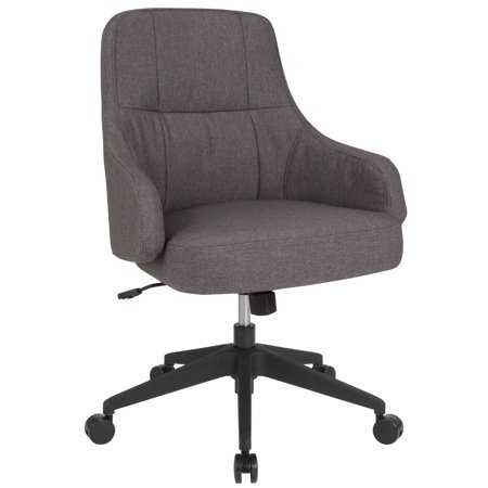 - Flash Furniture Dinan Home and Office Upholstered Mid-Back Chair in Dark Gray Fabric
