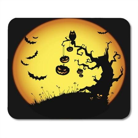 LADDKE Orange Tree Halloween Yellow Scary Spooky Pumpkin Silhouette Moon Mousepad Mouse Pad Mouse Mat 9x10 inch