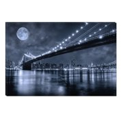 Startonight Canvas Wall Art Brooklyn Bridge, New York USA Design for Home Decor, Illuminated Black and White Abstract Painting 5 Stars Gift, Modern Artwork Framed Ready to Hang 23.62 X 35.43 inch