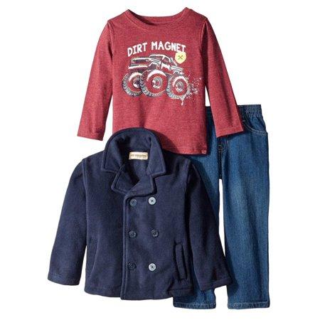 Kids Headquarters Infant Boys 3 Piece Monster Truck Shirt Pants & Jacket (Leighton Denny Top That Gel Top Coat)