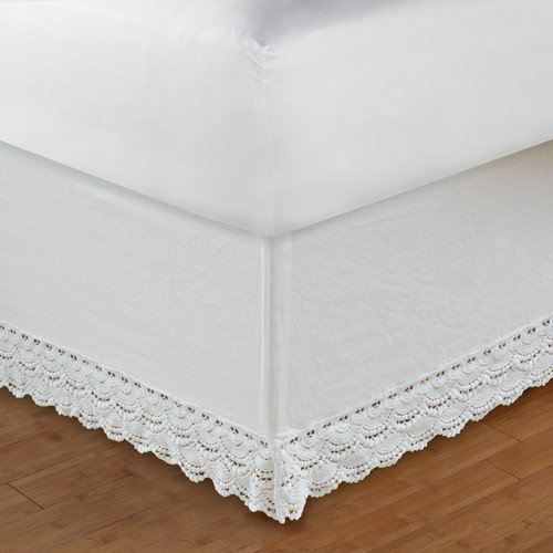 Greenland Home Fashions Crochet Lace White Bedskirt