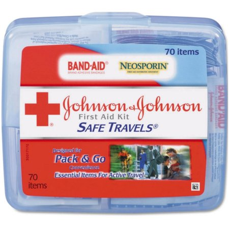 6 Pack - JOHNSON & JOHNSON First Aid Kit Safe Travels 1 (Swiss Safe 2 In 1 First Aid Kit)