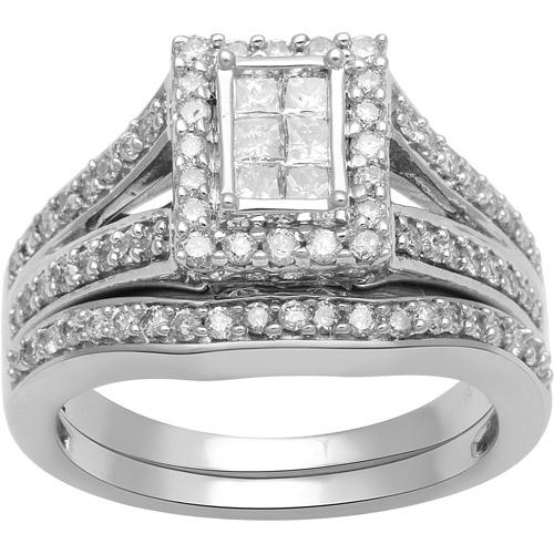 1 Carat T.W. Princess and Round Diamond 10kt White Gold Bridal Set by Generic