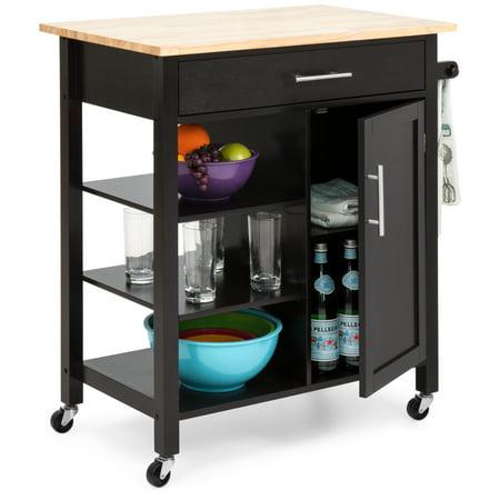 Best Choice Products Utility Kitchen Island Cart w/ Wood Top, Drawer, Shelves & Cabinet for Storage - Espresso Bronze Tiffany Kitchen Island