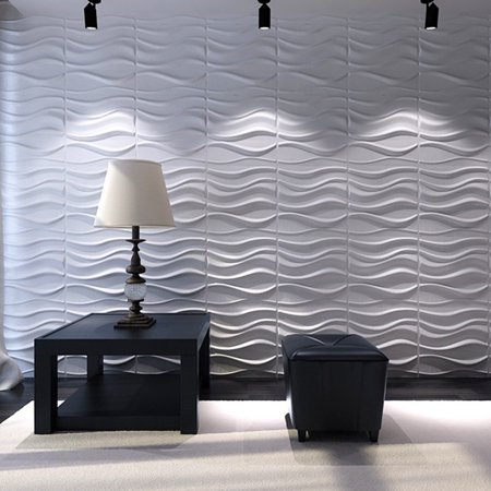 Art Decorative Wavy Wall Panel White Wave Board Pack Of 12 Tiles 32 Sq Ft