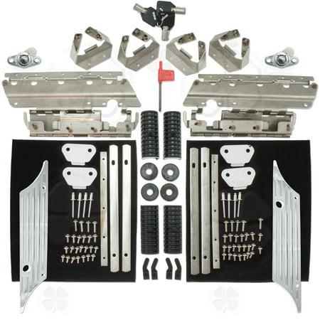 Set Saddlebag Hardware Chrome Latch Cover Lock Kit Harley Touring Road King Dyna