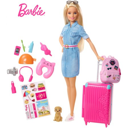 Barbie Doll and Travel Set with Puppy, Luggage & 10+ Accessories](Barbie Doll Halloween Costume Adults)