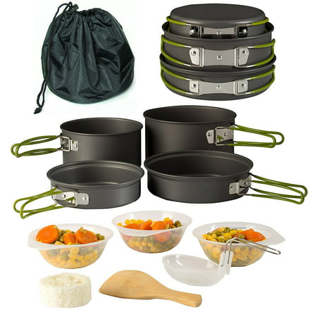Camping Cookware Pot & Pan Set Mess Kit Backpacking Outdoor Cooking Bowl, Made Of Lightweight Aluminum Material, Small & Compact Heat Resistant Foldable Handles, Hiking Gear fishing Survival