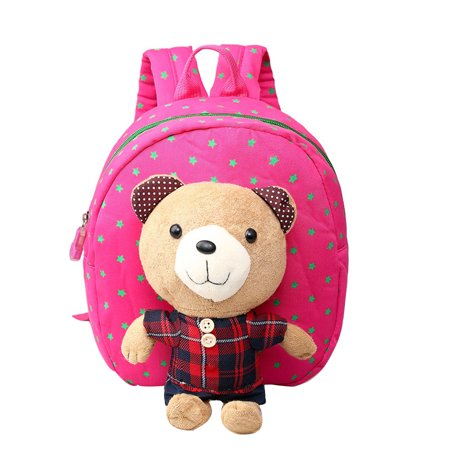 - Kids Backpack Anti-lost School Bag with A Leash & Removable Cartoon Bear with Stripe Pattern Light Children Shoulder Bag (Grid Rose Red Bear)