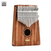 LINGTING K17Y 17-key Portable Thumb Piano Kalimba Mbira Sandalwood Solid Wood with Storage Bag Carry Case Music Book Stickers Tuning Hammer Accompaniment Chain Tassel Decoration