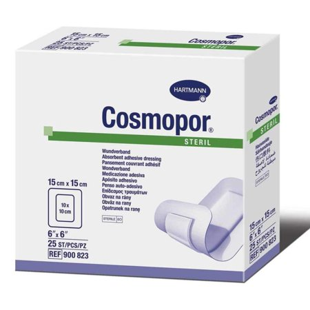"Steril 6"" x 6"" - Box of 25, A sterile wound contact layer that is both air and water permeable./Constructed of non-woven cotton. By Cosmopor,USA"