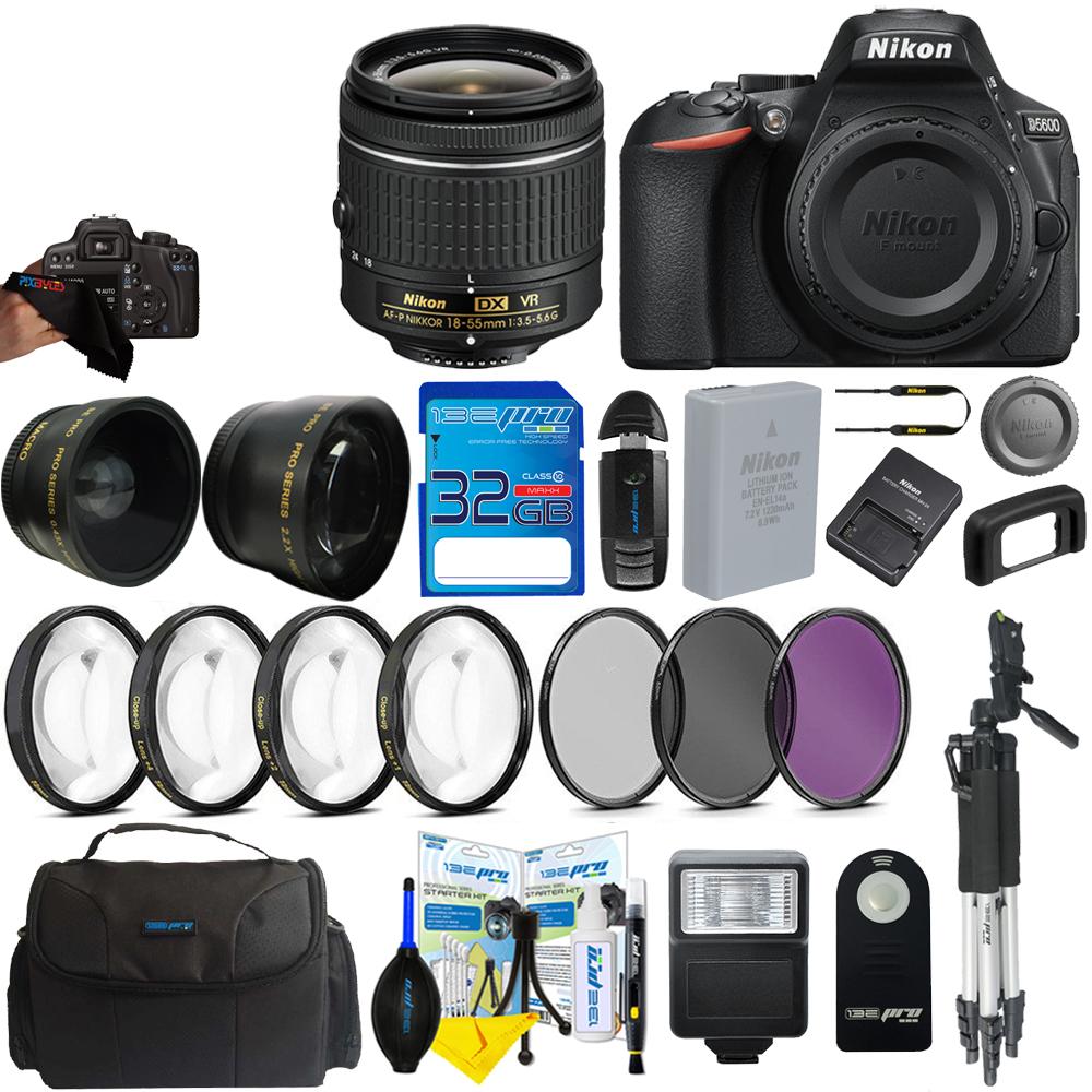 Nikon D5600 Digital SLR Camera + Pixi-Pro Accessory Bundle